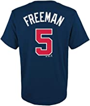 Freddie Freeman Atlanta Braves MLB Majestic Youth Boys Youth 8-20 Navy Official Player Name & Number T-Shirt