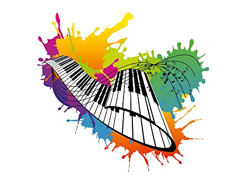 GRAZDesign Wandsticker Wandtattoo Wandaufkleber Klavier Keyboard Noten Musik Kleckse (54x50cm)
