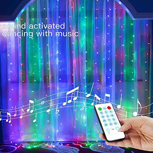 String Lights Curtain,8 Modes USB Powered Color Changing Lights for Party Wall Decorations,Sound Activated Function Can Sync with Any Voice (Multi-Colored,7.9Ft x 5.9Ft)