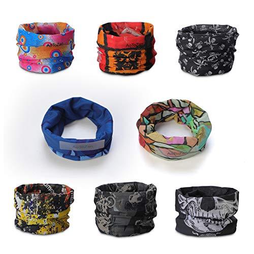 8er Pack Multifunktions-Magic Schal Elastische Stirnband Kopftuch Bandanas Zufälliger Stil Schlauchtuch für Outdoor Reiten, Motorrad, Wandern, Angeln