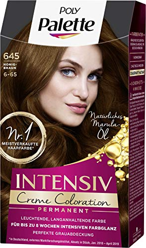 SCHWARZKOPF POLY PALETTE Intensiv Creme Coloration 645/6-65 Honigbraun, 3er Pack (3 x 128 ml)