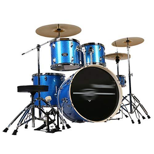 Basstrommeln Percussion Drums Adult Kinderselbstlern-Jazz Drumdrums Party Musikinstrumente Professional Spielen Drum Set 5 Drums 3 Becken (Color : Blue, Size : 160 * 120CM)