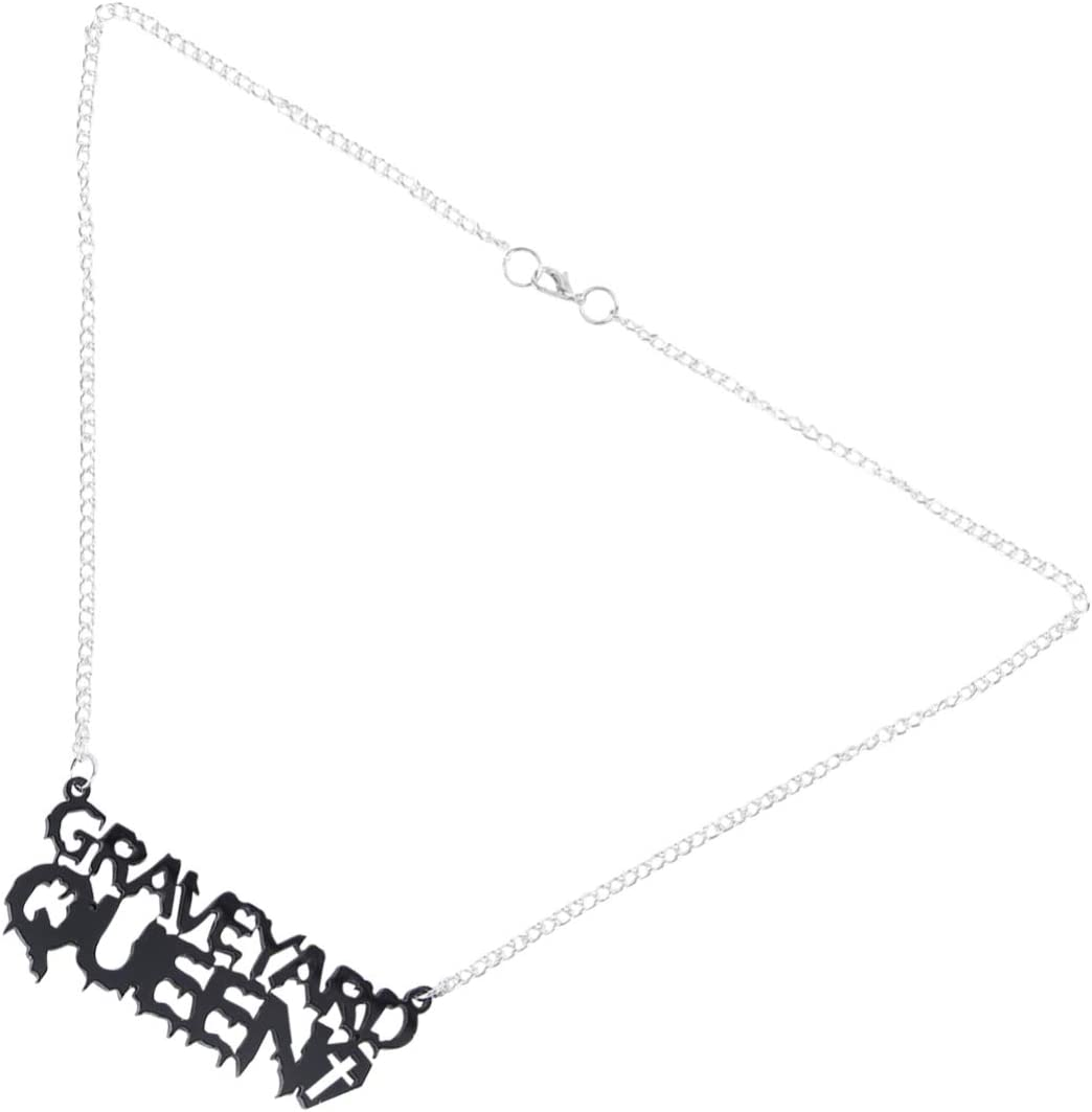Generic Halloween Black Letters Necklace Pendant Graveyard Gothic Jewelry for Party Girls Lady