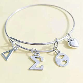 Nattaphol DST Sorority Delta Sigma Theta Letter Charms Love Bangle Jewelry Wire Bracelet Silver Tone As Gifts