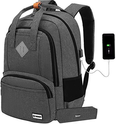 Laptop Rucksack Damen, 17 Zoll Anti-Diebstahl Schulrucksack für Herren und Jungen Teenager mit Laptopfach, Rucksack Schule mit USB-Ladeanschluss für Uni Arbeit Wandern Reisen Camping