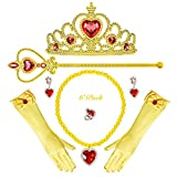 Princess Snow White Belle Anna Costume Accessories Set for Toddler Girls Dress Up Birthday Party (Yellow)