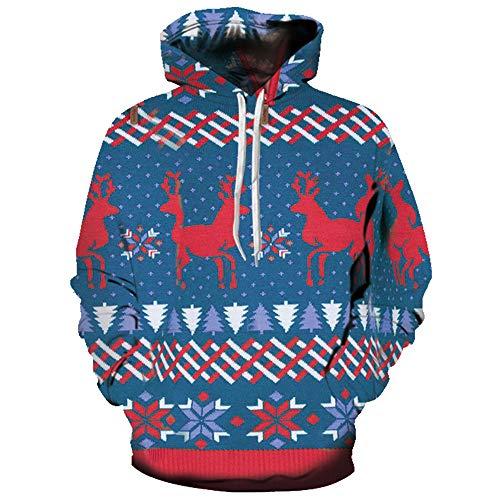 Yvery Sweatshirt, Langarm, für Herren, Herbst, Winter, Pullover, Bedruckt, modisch, Mantel, Langarm, 3D, Bedruckt, Weihnachtsmotiv, Hoodie Gr. S/M, blau
