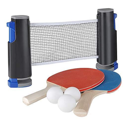 GEEDIAR Ping Pong Tischtennis-Sets Universal inkl. 2 Schläger 3 Bälle und Tischtennisnetz