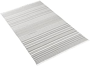 Kassatex Beach Towel Oversized Extra Large 40 X 70 - Montauk, Flat Woven Front and Full Terry Back, Light Grey/White Stripes with Fringe Detail, 100% Cotton