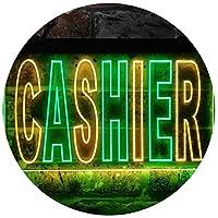 Cashier Illuminated Dual Color LED看板 ネオンプレート サイン 標識 緑色 + 黄色 400 x 300mm st6s43-i0246-gy