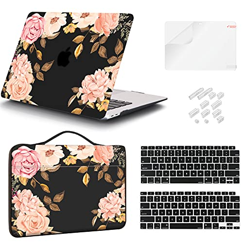 iCasso Case Compatible MacBook Air 13 Inch Case 2020 2019 2018 Release Model A2337 M1/ A2179/A1932 Touch ID, Peony Plastic Hard Shell Case, Sleeve Bag, Screen Protector, Keyboard Cover & Dust Plug