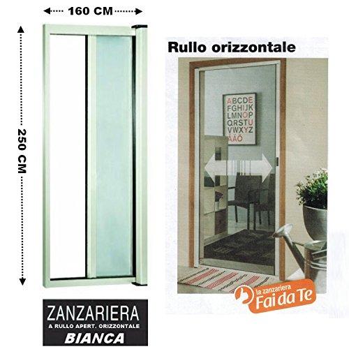 GrecoShop Zanzariera a Rullo in Alluminio per Porte/balconi con Profilo riducibile/Regolabile avvolgimento Orizzontale 160x250cm Bianca