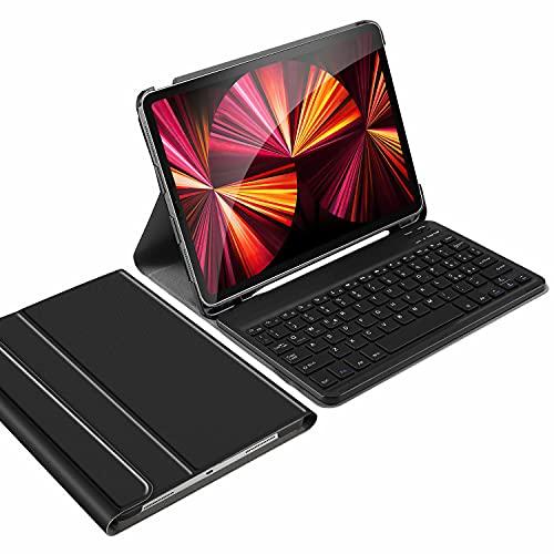 IVSO Italiana Tastiera Compatibile con iPad PRO 11 2021, con é.ç .§, Tastiera per iPad PRO 11 2021/2020/iPad Air 4 10.9 2020, Cover con Rimovibile Wireless Tastiera per iPad PRO 11 2021, Nero