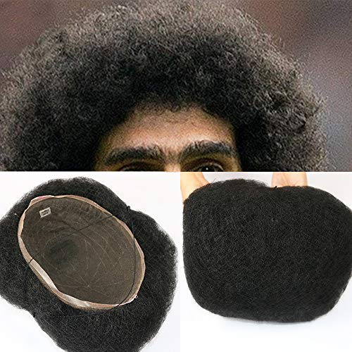 Afro Curly Full Lace Base Hairpieces Toupee 8x10 inch 100% Human Hair Toupee Men Hairpiece System