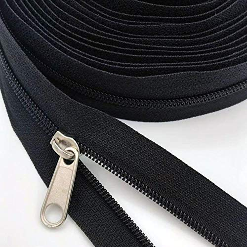 3 # Cremalleras de bobina de nailon a granel con deslizadores de cremallera, cremalleras negras yardas al por mayor para bricolaje en el hogar, costura accesorios de ropa