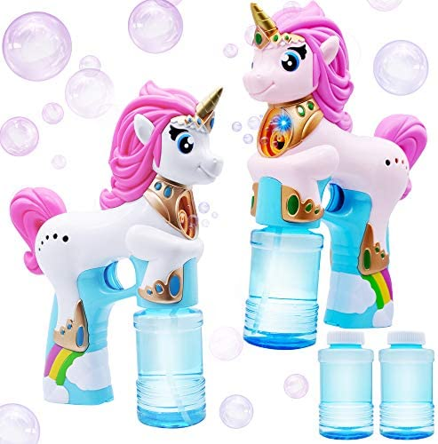 JOYIN 2 Colored Automatic Unicorn Bubble Blaster Guns with 4 Bubble Solutions 4oz for Kids Outdoor product image