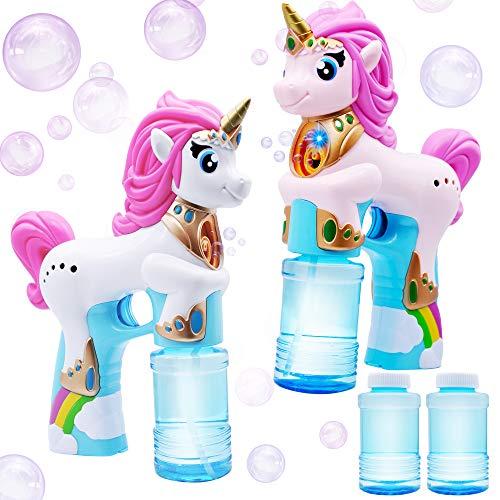 JOYIN 2 Einhorn Seifenblasen Pistolen für Kinder mit 4 Seifenblasenflüssigkeit(118ml), automatische Seifenblasenmaschine für Kinder Outdoor Sommerspaß, Bubble Party Favors