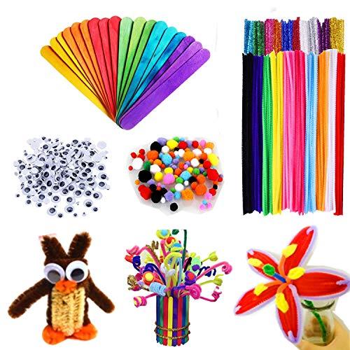 Adkwse 500 Stück Kinder Bastelset, 100 Pfeifenreiniger Chenilledraht + 200 Pompons + 200 Stücke Kunststoff Selbstklebend Puppe Augen DIY-Kinderspielzeug Set