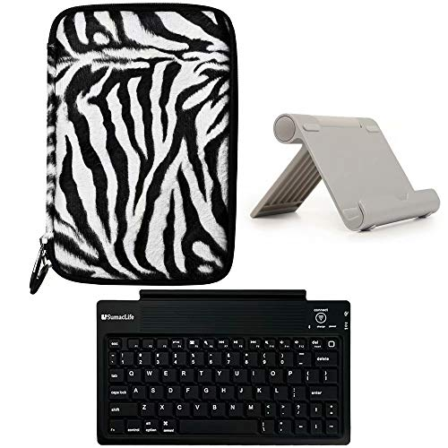 Faux Fur Hard Shell Tablet Case and Stand and Wireless Keyboard Fit Chuwi Hi8 Air, Lenovo Tab E8, Alldaymall A88T, Asus Zenpad Z8S ZT582KL, HP Pro Slate 8, Irulu Expro X4, Amazon Fire 7