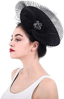 Xiejuanjuan Cocktail Tea Party Headwear Fascinator Hats Pillbox Hat British Bowler Hat Flower Veil Wedding Hat Tea Party Hat