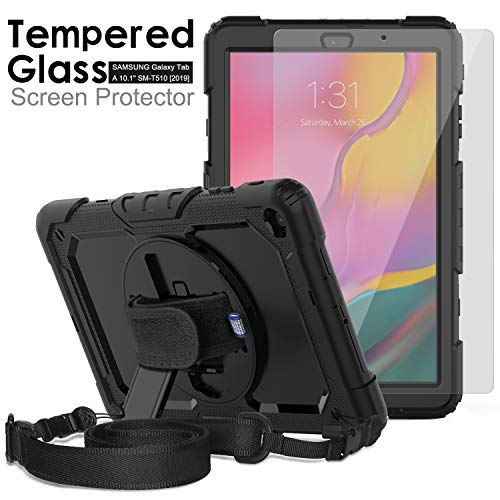 Samsung Galaxy Tab A 10.1 T510/T515 Case 2019, [Kid Proof]Ambison Full Body Protective Case with 9H Tempered Glass Screen Protector, Rotatable Kickstand/Hand Strap/Shoulder Strap/Pencil Holder (Black)