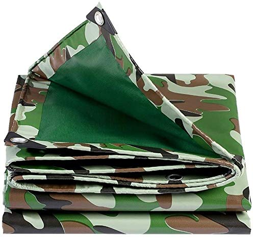 FFJD Camo Tarp Heavy Duty Waterproof Tear Proof Tarpaulin with Grommets and Reinforced Edges 16 Mil Thick 500 g/m²-5×8m