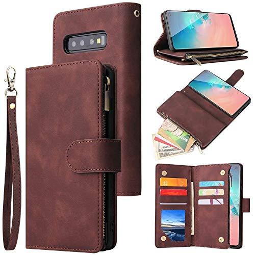 LCHULLE Handyhülle für Samsung Galaxy S9 Hülle Retro Brieftasche Lederhülle Flip Wallet Case Handyhülle mit Kartenfach Multifunktionale Ledertasche Cover Brieftasche Schutzhülle Kaffee