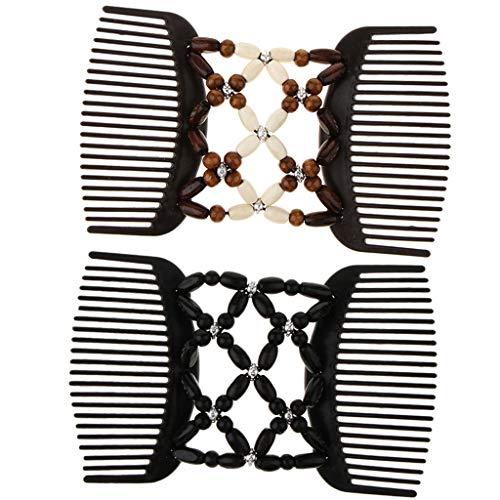 2x Stretch Doppel Haarkämme Einsteckkamm Steckkamm Haarklammer Haarspangen für Damen und Mädchen