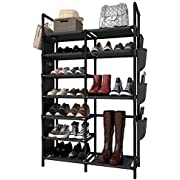 "ZERO JET LAG 50""H Shoe Rack Boots Storage Organizer 7 Tiers Closet Entryway Shelf Stackable Cabinet Tower Double Row Non-Woven Fabric Metal 20-25 Pairs Black"