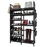 ZERO JET LAG 7 Tiers Shoe Rack Non-Woven Fabric Metal Shoe Rack Organizer Double Row 20-25 Pairs Shoe Tower Storage Cabinet Black