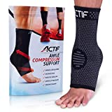 Actif Sports Ankle Compression Sleeve - Breathable Ankle Support to Speed Up Recovery, Prevent Injury, Reduce Swelling, Achilles Tendon and Plantar Fasciitis Support, and More (Large US Size 10-13)