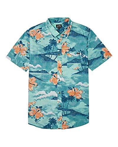 BILLABONG Jungen Sundays Floral Short Sleeve Woven Shirt Button Down Hemd, Aqua Blue, Mittel