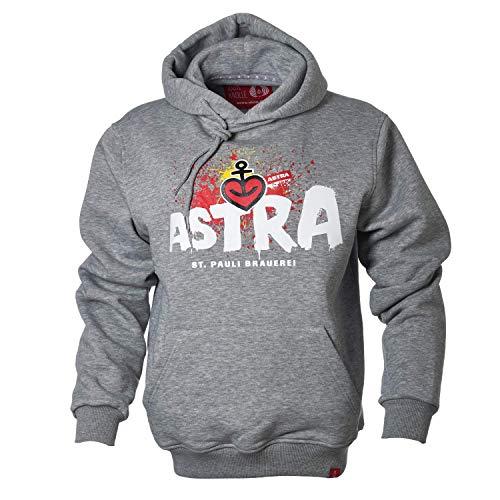 ASTRA St. Pauli-Brauerei Hoodie Unisex, bequemer Pullover mit Kapuze, Cooler Kapuzen-Pulli mit Aufdruck, für Damen & Herren, Grauer Sweater aus St.Pauli (L)
