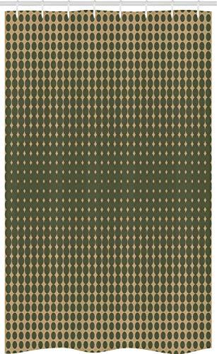 ABAKUHAUS olivgrün Schmaler Duschvorhang, Vintage ovale Punkte, Badezimmer Deko Set aus Stoff mit Haken, 120 x 180 cm, Olivengrün Hellbraun