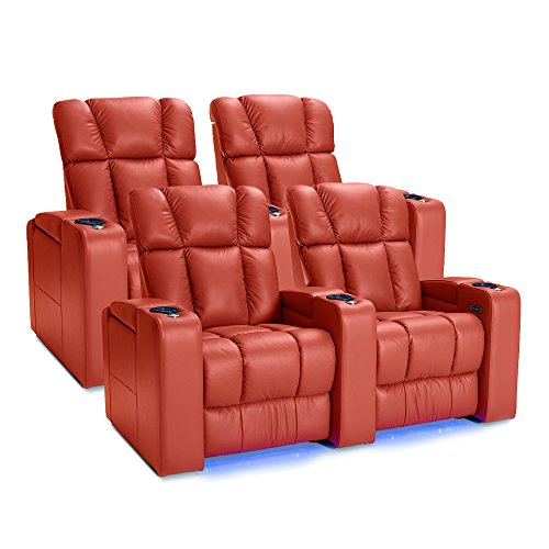 Palliser Collingwood Leather Home Theater Seating Power Recline with Adjustable Powered Headrests, Two Rows of 2, Red