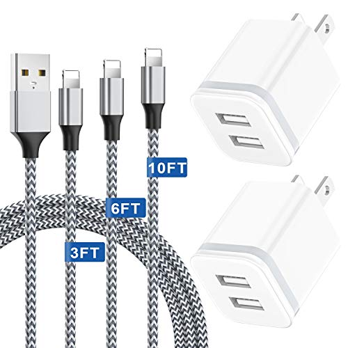 Phone Charger 3FT + 6FT + 10FT with Wall Plug 5-Pack, Niluoya Nylon Charging Cable Cord and Dual USB Block Cube Adapter Replacement for iPhone Xs Max XR X 8 7 6 6S Plus 11 9 Pro 5 SE SE2 5S 5C, Pad