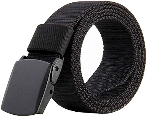 JASGOOD Nylon Canvas Breathable Military Tactical Men Waist Belt With Plastic Buckle(Suit for pant size below 45Inch, A-Black)