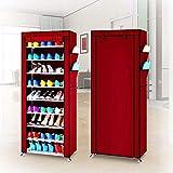 Zerone Armario, 10 Niveles DIY Zapato gabinete Torre Estante sostiene hasta 27 Pares de Zapatos Organizador del Soporte de Almacenamiento a Prueba de Polvo Cubre 60 del Zapato 30 168 cm (Rojo)