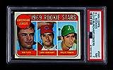 1969 Topps # 597 AL Rookies Rollie Fingers/Bob Floyd/Larry Burchart Athletics/Orioles/Indians (Baseball Card) PSA PSA 7.00 Athletics/Orioles/Indians. rookie card picture