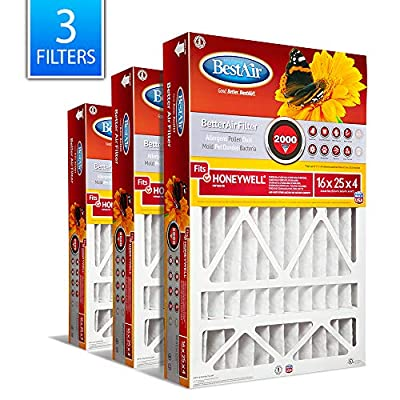 """BestAir HW1625-11R AC Furnace Air Filter, 16"""" x 25"""" x 4"""", MERV 11, Removes Allergens & Contaminants, Fits 100%, For Honeywell Models, Pack of 3"""