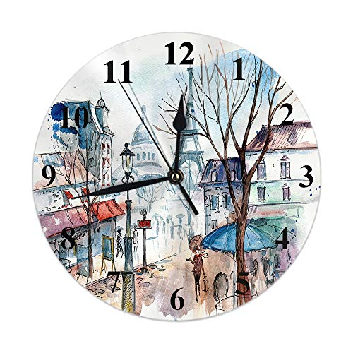 AOYEGO City Wall Clock Paris Eiffel Tower Drip Oil Landscape Watercolor Romantic Landmark Tree Round Clocks Wall Decorative Silent No Ticking 10 inch 25cm PVC Rustic Modern for Bedroom