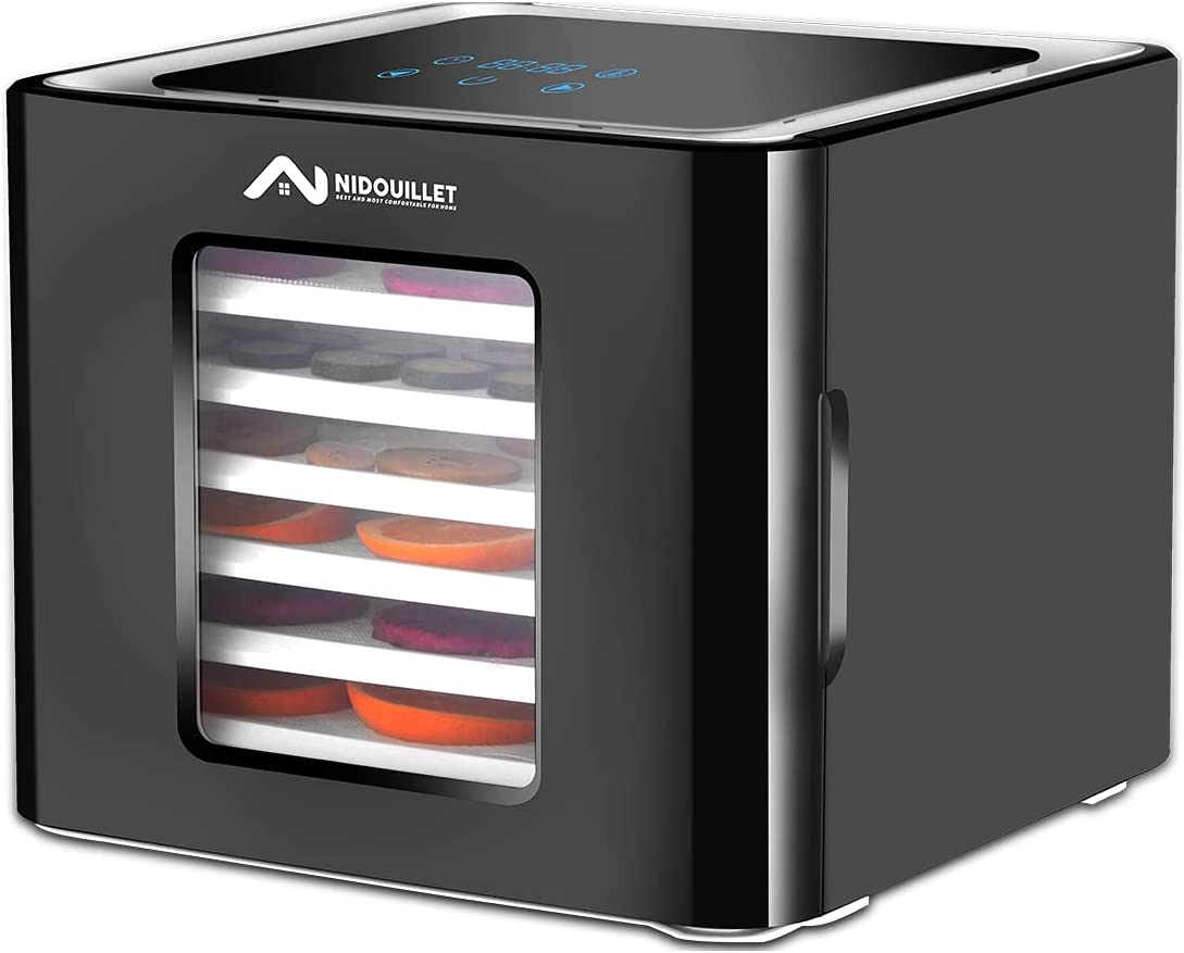 Nidouillet Food Dehydrator Machine,LED Display Dehydrator, Food Dryer with Digital Adjustable Timer&Temperature Control Function,6 Trays Dehydrators for Food and Jerky,Fruit,Meat,Herbs,Veggies