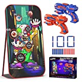 Shooting Game Toy with 2 Foam Blasters & Guns, Stable Shooting Targets & 100 Foam Darts Compatible with Nerf Guns for Boys 5 6 7 8 9 10 Years Old Gifts, Halloween Zombie Carnival Party Games