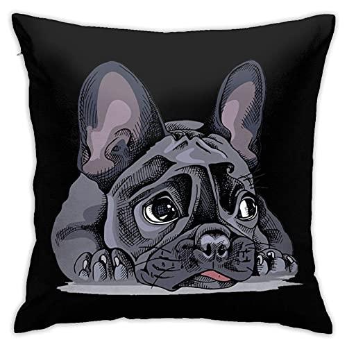 Funda de Almohada Cuadrada de Bulldog francés para el hogar, sofá Decorativo, 45 * 45 cm, Ultra Suave, cómodo
