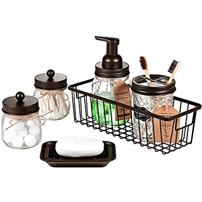 Mason Jar Bathroom Accessories Set(6PCS) - Foaming Soap Dispenser,Toothbrush Holder,Qtip Holder,Apothecary Jars, Soap Dish,Metal Wire Storage Organizer - Rustic Farmhouse Decor Bathroom (Bronze)