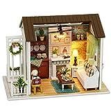 Pasamer Wooden DIY Cottage Kit, DIY Wooden Cottage Miniature House Kit Regalos para niños Juguete Decoración del hogar con Cubierta a Prueba de Polvo 8008
