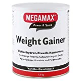 Megamax Weight Gainer Vanille 1,5 kg 0,5% Fett | Vitamine, hochwertige Kohlenhydrate & Proteine...