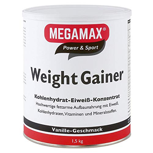 Megamax Weight Gainer Vanille 1,5 kg 0,5% Fett | Vitamine, hochwertige Kohlenhydrate & Proteine ideal für HardGainer u. Untergewicht | Aufbaunahrung für Massephase, Masseaufbau & Zunehmen