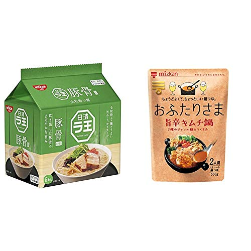 日清 ラ王 豚骨 5食パック + ミツカン おふたりさま 旨辛キムチ鍋