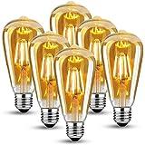 LED Vintage Edison Light Bulb,Edison E27 Screw Bulb 4W(40W Equivalent) ,Retro Antique Style LED Light Bulbs Screw in,470LM ,2700K Warm White Vintage Light Bulb,6 Pack